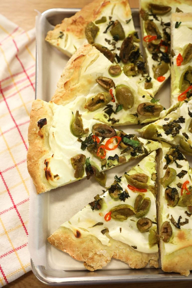 Homemade Flatbread with Labneh & Olives