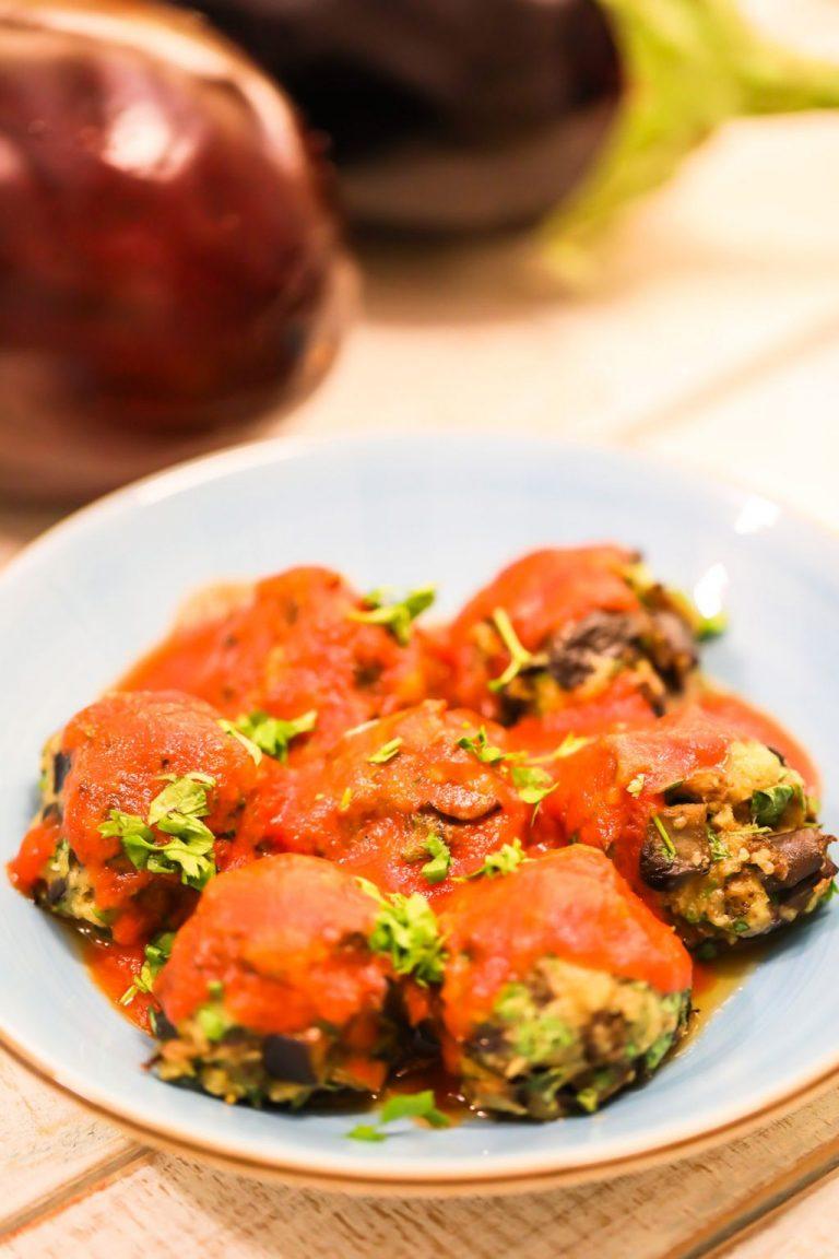Eggplant Meatballs with Easy Marinara Sauce