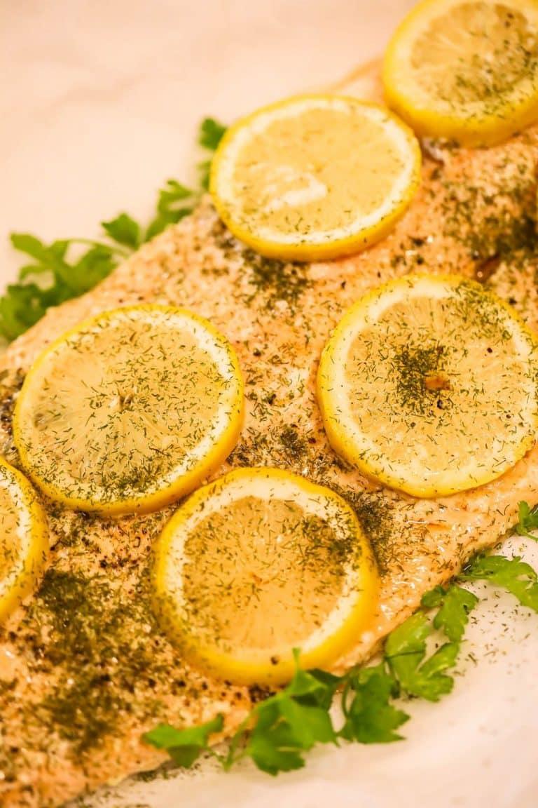 Garlic Roasted Lemon Salmon